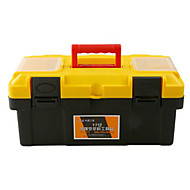 Thick Yellow Plastic Toolbox Multifunction Portable Home / Car (17-Inch)