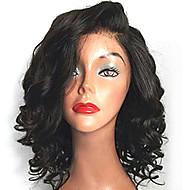 Mulher Perucas sintéticas Frente de Malha Médio Ondulado Preto Riscas Naturais Parte lateral Corte Bob Peruca com Renda Peruca de
