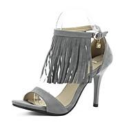 Women's Shoes Fleece Stiletto Heel Heels / Open Toe Sandals Party & Evening / Dress / Casual Brown / Gray / Khaki