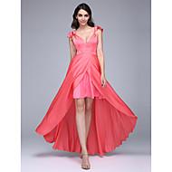TS Couture® Formal Evening Dress A-line V-neck Asymmetrical Satin Chiffon