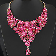 Women's Statement Necklaces Bib necklaces Flower Gemstone Resin Fashion European Luxury Elegant Gray Rose Red Light ewelry Wedding Party Valentine