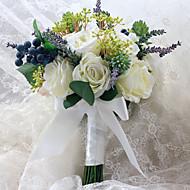 """פרחי חתונה בצורה חופשיה ורדים / פרחי אדמוניות / לבנדר זרים חתונה סאטן 9.06""""(לערך.23ס""""מ)"""