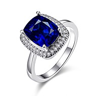 Široké prsteny Barva ozdobného kamene Pozlacené 18K zlatá Square Shape Módní Elegantní Námořnická modř Šperky Svatební Párty Denní 1ks