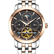 Carnival Men's Skeleton Watch Mechanical Watch Automatic self-winding Hollow Engraving Noctilucent Moon Phase Stainless Steel BandCool