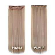 24inch 120g # 18/613 grampo em extensões de cabelo sintético 1 peça de cabeça cheia 5 clipes de extensões de cabelo sintético