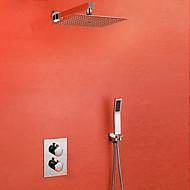 모던 샤워 시스템 자동 온도 조절 with  도자기 발브 두 손잡이 하나의 구멍 for  크롬 , 샤워 수전