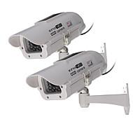 kingneo exterior / interior movido a energia solar de segurança manequim câmera simulado câmera de vigilância com flash LED, 2pcs branco