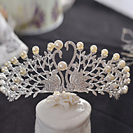 Bride's Swan Rhinestone Imitation Pearl Wedding Hair Accessories Crown Tiaras Headpiece 1 Pieces