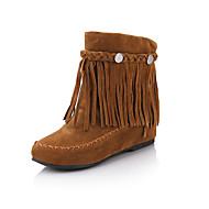 Γυναικεία παπούτσια-Μπότες-Ύπαιθρος Καθημερινό Πάρτι & Βραδινή Έξοδος-Ενιαίο Τακούνι-Μοντέρνες Μπότες-Δερματίνη-Μαύρο Καφέ Κόκκινο