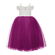 Ball Gown Tea-length Flower Girl Dress - Lace / Tulle Short Sleeve Spaghetti Straps with Beading / Lace