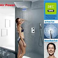 Současné Nástěnná montáž Termostatický / Dešťová sprcha / Včetne sprchové hlavice with  Mosazný ventil Dvěma uchy tři otvory for