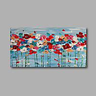 "Stretched (Ready to hang) Hand-Painted Oil Painting 40""x20"" Canvas Wall Art Modern Abstract Flowers Blue Red"