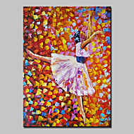 Hand Painted Modern Abstract Ballet Girl Oil Painting On Canvas Wall Art With Stretched Frame Ready To Hang