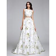 Lanting Bride® Corte en A Vestido de Boda Larga Joya Organza con Diseño