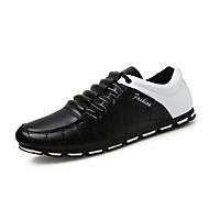 Oxfords-Læder / Stof-Komfort / Lukket tå-Herre-Sort / Brun / Sort og Hvid-Kontor / Hverdag-Flad hæl