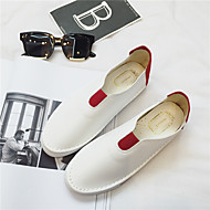 Women's Loafers & Slip-Ons Fall Round Toe / Flats Leather Casual Flat Heel Others Black / Burgundy Others