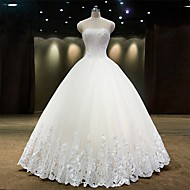 Princess Wedding Dress Lacy Look Floor-length Strapless Tulle with Beading Lace