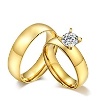 2016 Gold Noble Titanium Steel CZ Stone Wedding Couples Ring  For Women&Man