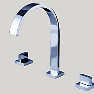 Bathroom Sink Faucet Widespread Contemporary Design Chrome finish Faucet
