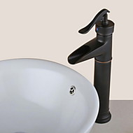 Antique Style Oil-rubbed Bronze Finish Waterfall Brass  Bathroom Sink Faucet