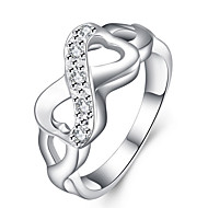 Fine Silver 8 Shape Love Infinite Band Ring for Wedding Party Jewelry