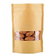Kraft papirposer, vindu, stand-up poser, matemballasje, 9cm * 15cm + 3 cm, en pakke med ti