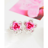 Forme de Fleur Bijoux Femme Mode Mariage Soirée Alliage 1 paire Rouge Violet Incarnadin