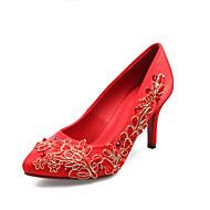נשים-עקבים-משי-עקבים-אדום-שמלה-עקב סטילטו