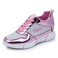 Damen-Sneaker-Lässig-PU-Flacher Absatz-Rundeschuh-Blau / Rosa