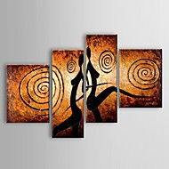 Hand-painted sexy Lovers Space Nude Dance Landscape Wall Art Oil Paintings 4pcs/set Stretched Frame Ready To Hang