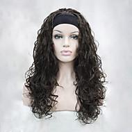 новые моды 3/4 парик с оголовье каштановый волнистый длинние синтетические женские половины париков