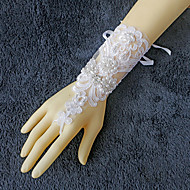 Wrist Length Fingerless Glove Lace Bridal Gloves Beading / Pearls / Rhinestone