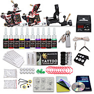 Professional Tattoo Kit 10 Color Inks 1 Rotary Machine 2 Cast Iron Machines Liner & Shader LCD Power 20 Tattoo Needles