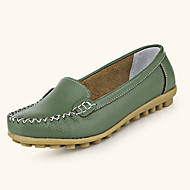 Women's Flats Spring / Summer Comfort Leather Casual Flat Heel Slip-on Yellow / Green / Red / White Walking