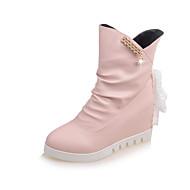 Women's Flats Fall / Winter Flats PU Outdoor / Casual Flat Heel Satin Flower Black / Pink / White
