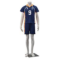 Inspired by Haikyuu Kageyama Tobio Anime Cosplay Costumes Cosplay Suits Solid Blue / Orange Short Sleeve Top / Shorts