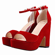 נשים-סנדלים-בד-פלטפורמה-שחור כחול צהוב ירוק סגול אדום כתום אדום כהה Almond-חתונה שמלה מסיבה וערב-עקב עבה פלטפורמה