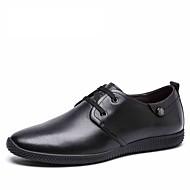 Men's shoes black Genuine leather shoes Fashion oxford shoes slip on style men's flats