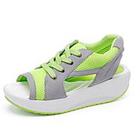 נשים-נעליים ללא שרוכים-טול-מעוגל-כחול / ירוק / אדום-שטח / משרד ועבודה / קז'ואל-עקב וודג'