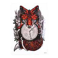 1pc Tattoo Sticker for Women Men Body Arm Art Design Red Fox Clock Time Pattern Temporary Tattoos Sticker HB-388