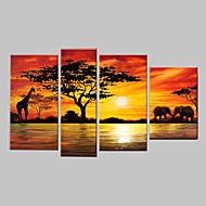 handgemalte moderne abstrakte Elefanten Giraffe Sonnenuntergang afrikanische Landschaft Ölgemälde auf Segeltuch 4pcs / set keinen Rahmen