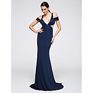 2017 TS Couture® Formal Evening Dress Trumpet / Mermaid V-neck Sweep / Brush Train Jersey with Side Draping