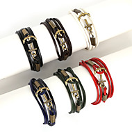 Herrn Bettelarmbänder Wickelarmbänder Lederarmbänder Modisch Mehrlagig Leder Aleación Linienform Anker Schwarz Braun Rot Grün Marineblau