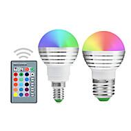 5W E14 / E26/E27 Lâmpada Redonda LED A50 1 LED Integrado 300-450 lm RGB Regulável / Controle Remoto / DecorativaAC 85-265 / AC 220-240 /