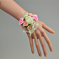 Wedding Flowers Hand-tied Roses Wrist Corsages Wedding White Tulle / Lace / Bead