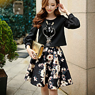 DABUWAWA Women's Floral / Color Block Skirts,Cute / Street chic / Sophisticated Above Knee