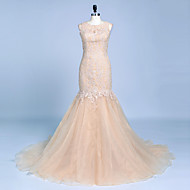 Formal Evening Dress Trumpet / Mermaid Jewel Court Train Lace / Organza with Appliques / Beading / Buttons / Lace