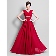 Lanting Bride A-line Plus Size / Petite Mother of the Bride Dress Floor-length Sleeveless Chiffon with Beading / Side Draping
