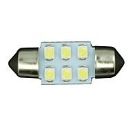 10ks bílá 31mm 6-SMD podražcový dome mapa vnitřní LED osvětlení lampy de3175 3022
