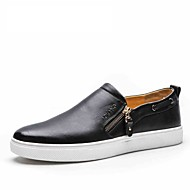 Men's Shoes Cowhide genuine leather flat shoes Athletic Loafers Slip-On black red white shoes wholesale